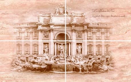 TRAVERTIN Fontana di Trevi Панно 50*80 ( из 4-х частей) TR-P-FTR